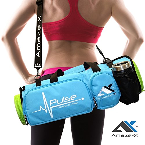 Yoga Bag Yoga Mat Bag Fitness Bag Multifunctional Gym Bag with Open Ends 5 Pockets Bottle Holder in 2 colors from AmazeX (BLUE) (Pocket End)