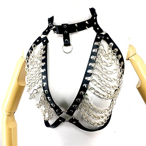 TOPFUR Women's Sexy Body Harness Leather and Metal Chain Punk Waist Belts Halloween Club Costumes Adjustable Costume(LB-149) ()