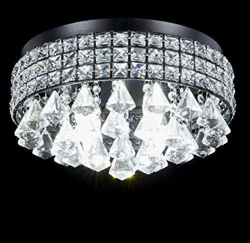 Galaxy 4 light antique black metal shade flushmount crystal homeshopbeach aloadofball Images