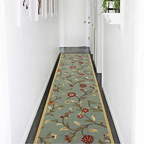 Sage 2'6 X 10' Runner - Ottomanson Ottohome Collection Floral Garden Design Non-Skid (Non-Slip) Rubber Backing Modern Area Rug Hallway Runner, 2'7