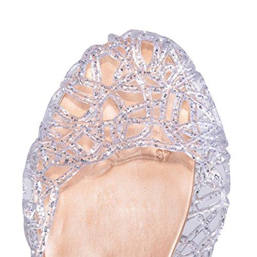 Hee Grand Damen Ballerinas Espadrille Schuhe 39 Silber