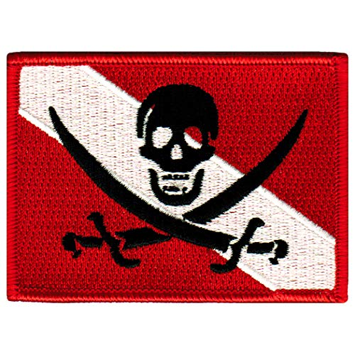 Jolly Roger Diver Down Flag Patch Embroidered Iron On Scuba Diving Skull Pirate Emblem -