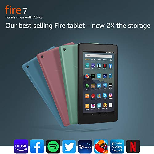 """Fire 7 Tablet, bright 7"""" display and faster quad-core processor with 1 GB RAM for personal entertainment"""