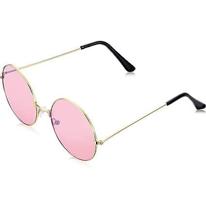 Schimer - Gafas de sol estilo hippie para hombre, estilo retro, con marco de aleación rosa rosa