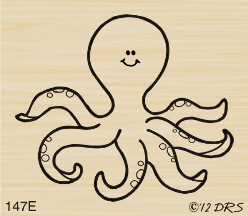 Happy Octopus Rubber Stamp By DRS Designs
