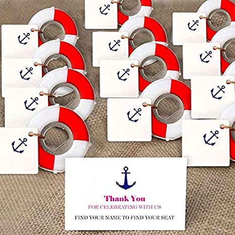 Aparty4u 20pcs Nautical Party Favors Nautical Bottle Opener With Diy Anchor Tags For Beach Wedding Baby Shower Birthday Party Decorations