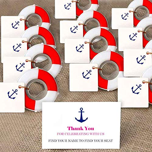 Aparty4u 20Pcs Nautical Party Favors, Nautical Bottle Opener with DIY Anchor Tags for Beach Wedding Baby Shower Birthday Party Decorations ()