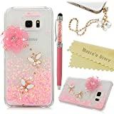 S6 Edge Plus Case,Samsung Galaxy S6 Edge Plus Case - Mavis's Diary 3D Bling Handmade Pink Love Heart Flowing Liquid Lovely Flower White Butterfly Shiny Diamonds Clear Hard Cover with Dust Plug & Pen