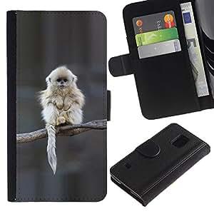 Planetar® Modelo colorido cuero carpeta tirón caso cubierta piel Holster Funda protección Para SAMSUNG Galaxy S5 V / i9600 / SM-G900 ( Japanese Snow Monkey Ape Cute )