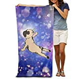 Shower Curtain pillow French Bulldog Yoga1 W:31.5 Inches L: 51.2 Inches Strong Water Absorption Adult Beach Towels