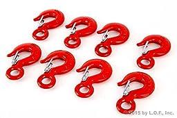 8 Alloy Eye Hoist Sling Hook with Latch Shackle Tow Crane Lift 1 Ton WLL 2000lb
