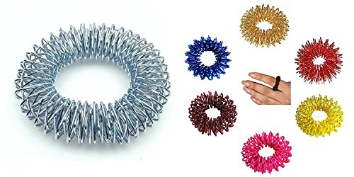 Acupressure Hand Wrist Massage Bracelets Set of 2 + Sujok Pain Therapy Finger Circulation Rings Set of 10 Bracelet - 6.0Cm Dia, Sujok Rings