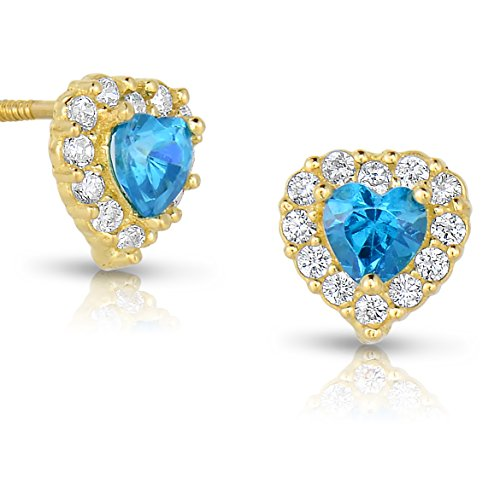 Tiny 14k Yellow Gold Heart Stud Earrings Cubic Zirconia Birth Month with Secure Screw Backs (December)
