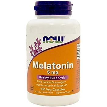 NOW Foods Melatonin 5mg Vcaps, 180 Capsules (Pack of 2)