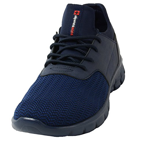 Alpine Swiss Leo Heren Sneakers Flex Gebreide Tennisschoenen Casual Atletische Lichtgewicht Marine