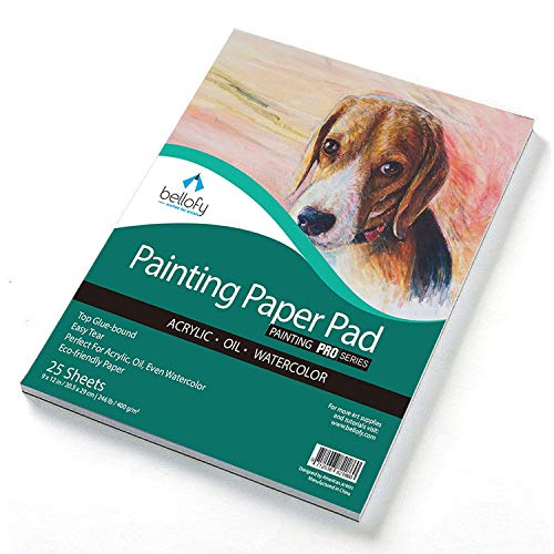 Bellofy Painting Paper Pad - 25 Sheets / 50 Pages - Acrylic Oil Watercolor Cold Pressed Rough Finish Paper for Painting - 9 x 12 inches, 246 lB / 400 GSM - Art Paper for Kids - Watercolor Sketchbooks ()
