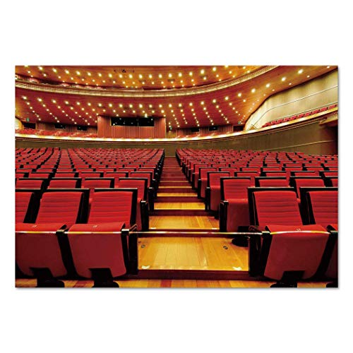 Funky Wall Mural Sticker [ Musical Theatre Home Decor,China National Grand Theater Hall Chairs Auditorium Image,Red Light Brown ] Self-adhesive Vinyl Wallpaper / Removable Modern Decorating Wall Art -