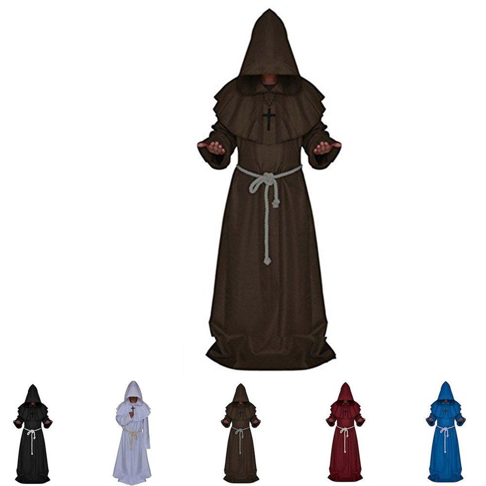 Katech Túnica medieval con capucha para adultos,monje, para Halloween, decoración, disfraz, fiesta de disfraces, estándar, ropa, túnica de sacerdote ...