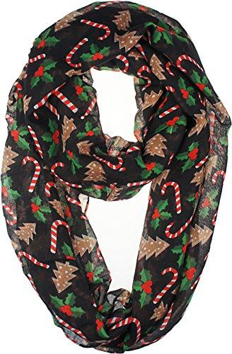VIVIAN & VINCENT Soft Light Elegant Merry Christmas Sheer Infinity Scarf (Christmas Black)]()