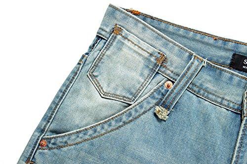 para Azul Ligero Denim Ajustado Hipster Regular Jeans Hombre SSLR qRFXwf6