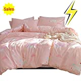 ORoa Cartoon Unicorn Twin Duvet Cover Set Cotton Bed, Kids Teen Bedding Sets 3 Piece for Girls Toddler Adult with 1 Comforter Cover 2 Pillowcases Cloud Print, Lightweight Striped(Pink, Twin Size)
