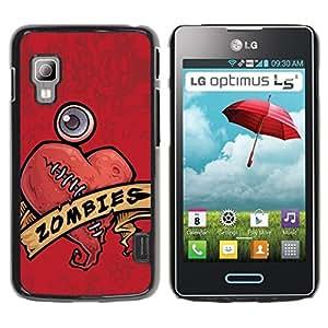 LECELL -- Funda protectora / Cubierta / Piel For LG Optimus L5 II Dual E455 E460 -- Cool Zombie Heart Love --