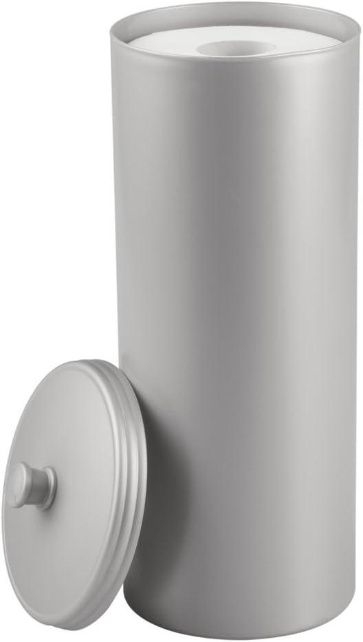 Almacenaje de ba/ño para 3 rollos de papel higi/énico Dispensador de papel higi/énico para el ba/ño mDesign Juego de 2 portarrollos de pie gris