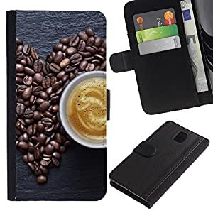 LECELL--Cuero de la tarjeta la carpeta del tirón Smartphone Slots Protección Holder For Samsung Galaxy Note 3 III -- Granos de café Amor --