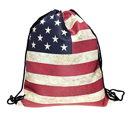 Astra Gourmet USA Flag Drawstring Sports Backpack Shoulder Bags Gym Bag Sack Yoga Bag for Men & Women