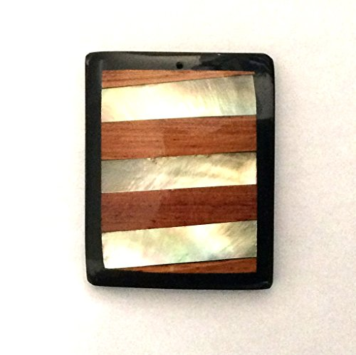 Pendant Inlay Wood & Shell Rectangle Beads, Classy (Inlay Rectangle Pendant)