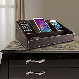 Faux Leather Charging Station (Brown) (11.5\