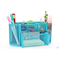 Office Tidy Desk Organiser Organizer Accessories Storage Box with Drawer Pencil Pot Pen Holder Mash Metal Blue Multi-functional For Home School