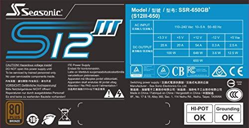 SeaSonic S12III 650 W 80+ Bronze Certified ATX Power Supply