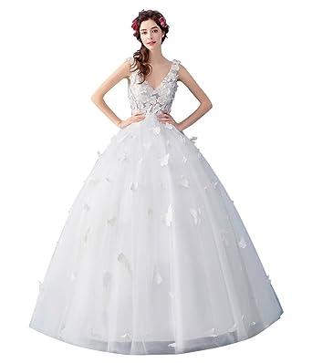 ed9ff69049ccf hanamaya 花付け 蝶 ホワイト 刺繍 ロング丈 豪華 袖あり 演出服 結婚式ドレス