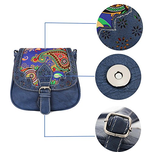 Monday Bag Shoulder Christmas for Women's Women Sale Genuine Week Black Vintage Bag Deals Gifts Leather Cross Handmade Vintage Style Purse Clearance Handicrafts Saddle Blue Body Cyber dWnZq8FwHd