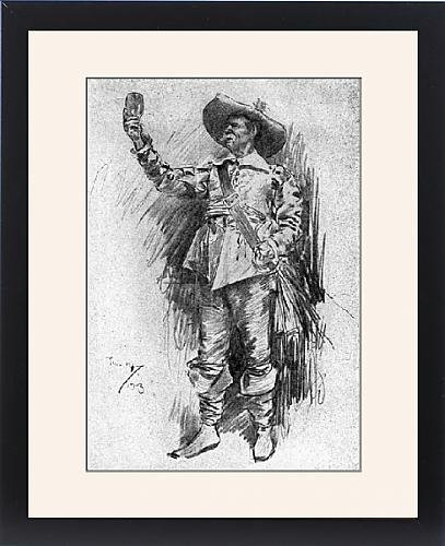 Framed Print of Early 20th century actor in the role of a Cavalier (Restoration Theatre Costumes)