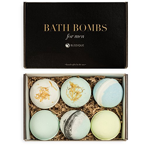Bath Bombs for Men Set - Ultra Lush Assorted Manly Scents for Guys - Large 7 Ounce Spa Fizzies - Bubble Bath Salts Aromatherapy Stress Relief Natural Organic Essential Oil Luxury Dad Husband