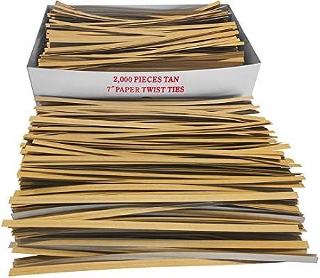 2000 Pack 7 Long 3//16 Wide Paper Coated Twist Ties Kraft