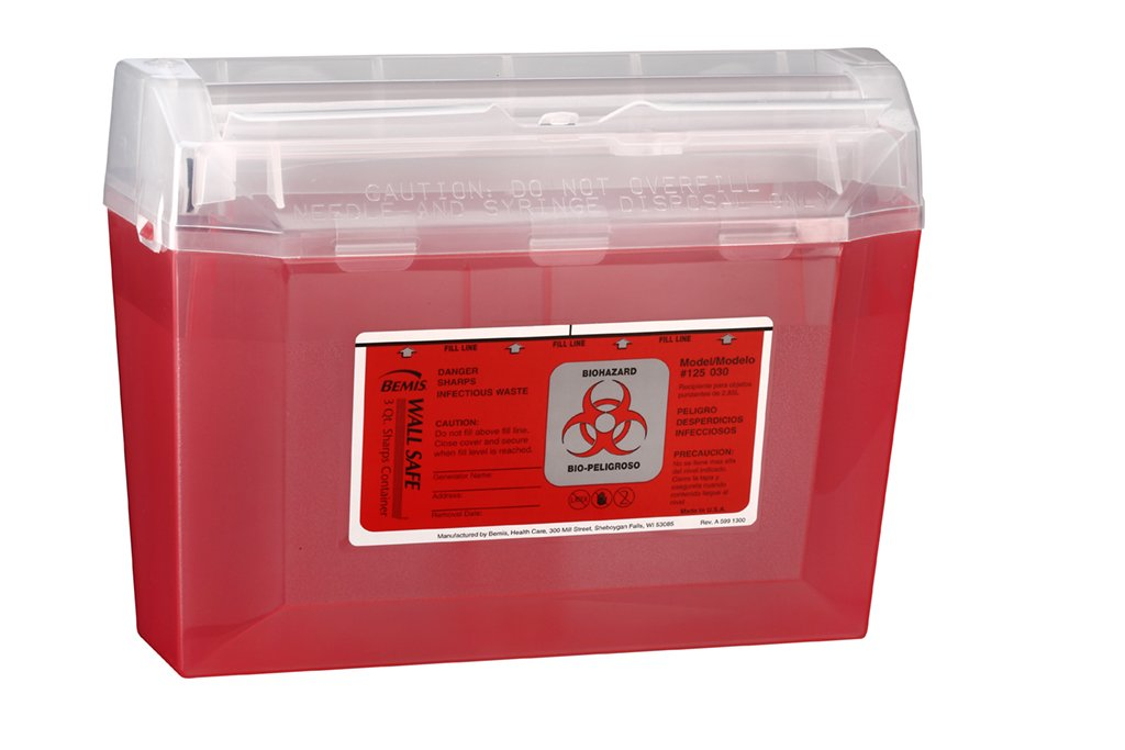 Bemis Healthcare 125030-5 3 Quart Wall Safe Sharps Container, Translucent Red (Pack of 5)