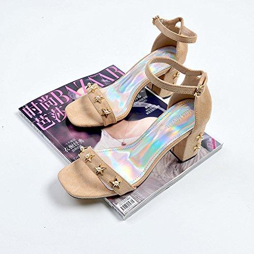 beige mujer altos alto de zapatos hebilla con de satén gruesas zapatos Los Tacones de estrellas 35 pearl mujer tacón zapatos UtO5wFqZx