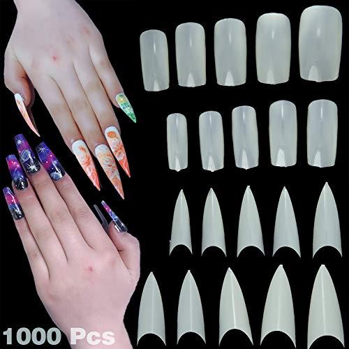 79STYLE 1000 Pcs Fake Nails Tips White Squoval