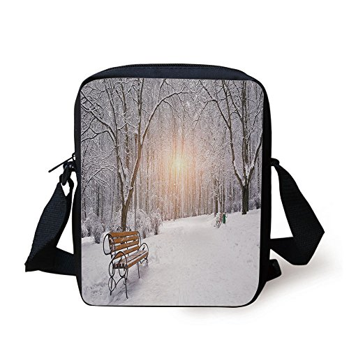 IPrint Winter,Snow Covered Leafless Trees and Benches in the City Park Sunset Woodland Outdoors Decorative, Print Kids Crossbody Messenger Bag Purse