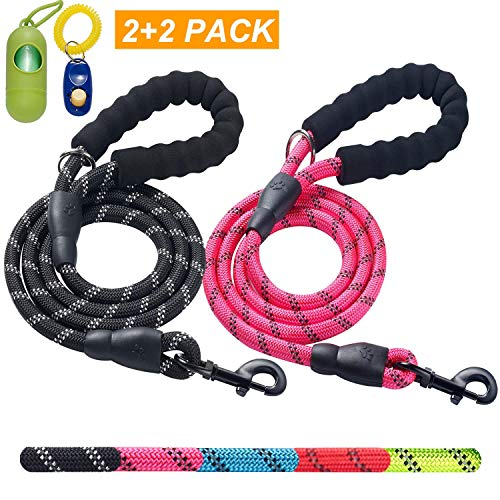 ladoogo 2 Pack 5 FT Heavy Duty Dog Leash with Comfortable Padded Handle Reflective Dog leashes for Medium Large Dogs (Pit Collar Leash)