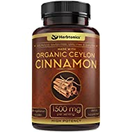 High Strength Ceylon Cinnamon Capsules 1500mg 120 Capsules l True Organic Ceylon Cinnamon Supplement l Sri Lanka Cinnamon Ceylon, Blood Sugar Level Support