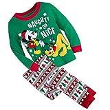 Mickey Mouse Disney Store Naughty or Nice Pluto Boy's Cotton Holiday Christmas Pajama Set (5)