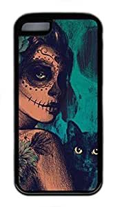 linfenglinCustom Soft Black TPU Protective Case Cover for iPhone 5C,Skull Girl Case Shell for iPhone 5C