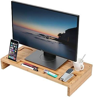 Soporte para monitor de ordenador de bambú, organizador de ...