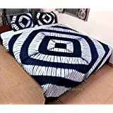 Exclusive - New Tie Dye Blue Indigo Shibori Bed Cover Set Indian Twin Size Bedding Set Blanket, Duvet Cover, Quilt Cover Pillowcases