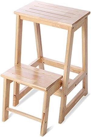 HOMRanger Escalera Taburete Todo de Madera Maciza Plegable del hogar Placa Gruesa Multifunción Simple, Escalera de 2 peldaños, Color de Madera Doble Uso: Amazon.es: Hogar