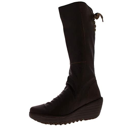 08d9f810b326 FLY London Womens Yust Knee High Wedge Heel Leather Snow Winter Boots - Dark  Brown -